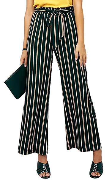 3edda0d40fd1 just quella High Waist Women's Comfy Striped Elastic Waistband Wide Leg  Palazzo Pants with Drawstring at Amazon Women's Clothing store:
