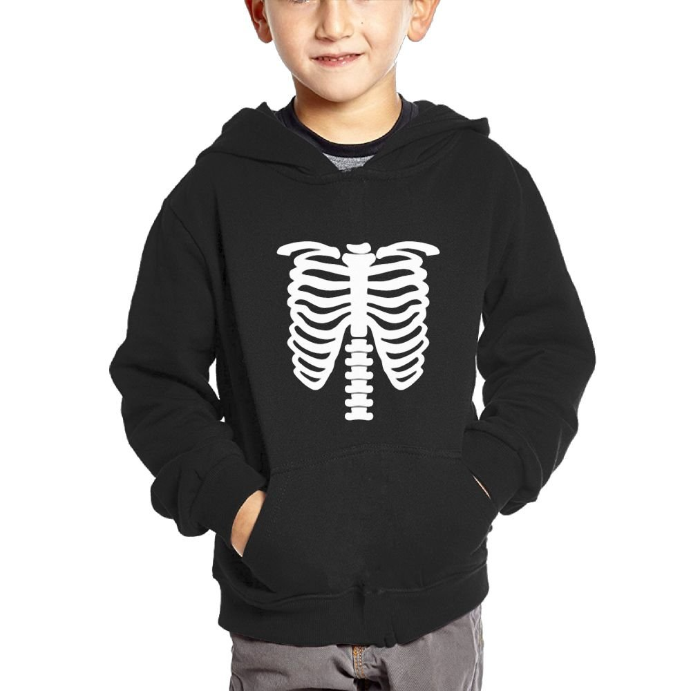 Anutknow Punk Printed Skeleton Pattern Childrens Fashion Casual Hooded Pocket Sweater