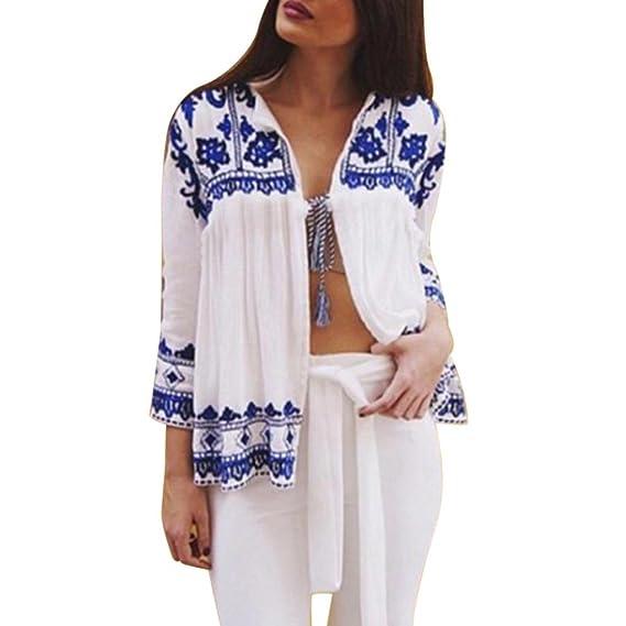 Kimono de Verano, Dragon868 Vintage Mujeres Flores Sueltas Chal Kimono Chaqueta de Gasa Bohemio Blusa