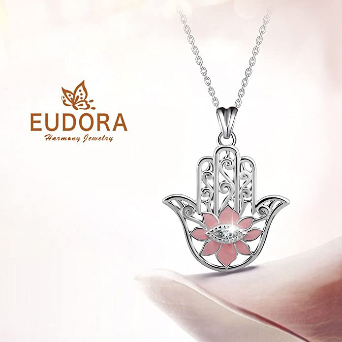 Eudora 925 Sterling Silver Evil Eye Hamsa Hand Fatima Good Luck Clear CZ Vintage Pendant Necklace, 18