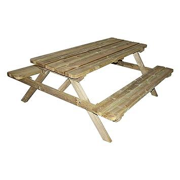 Table de pique-nique Forestière bois 4/6 places: Amazon.fr: Jardin