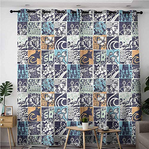 - XXANS Window Curtain Panel,Patchwork,Tropic Island Icons Texts,Blackout Window Curtain 2 Panel,W120x72L
