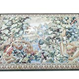 Yilong Carpet 4.4' x 6.2' Antique Handmade Aubusson French Art Tapestry Wall Hanging Wool Rug Tree and Longevity Crane W40C4.4x6.2