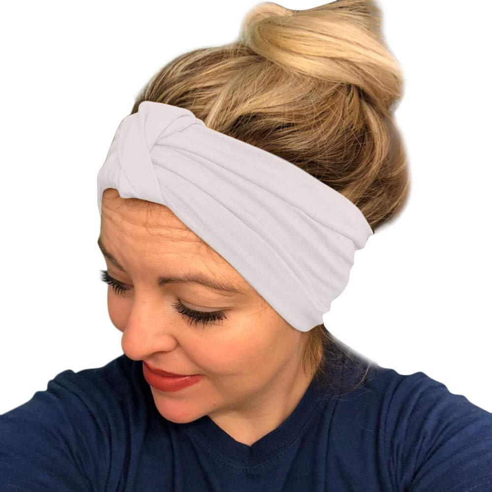 HighlifeS Women Elastic Turban Head Wrap Headband Twisted Hair Band (C)