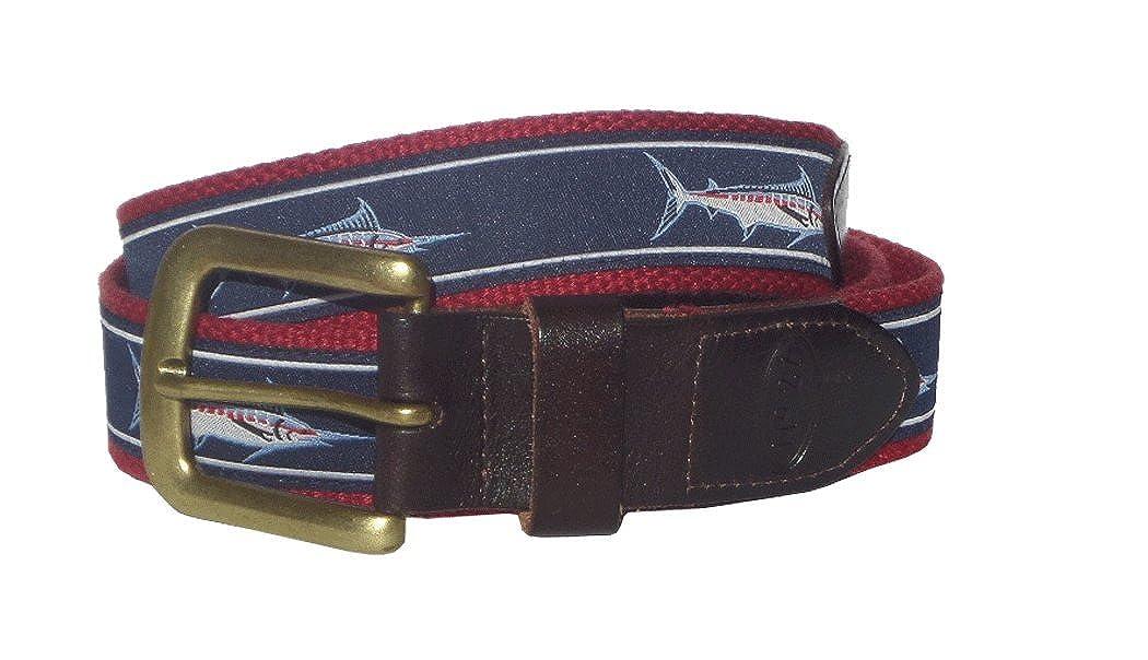 No27 Mens Marlin Leather Belt Marlin Ribbon on Red