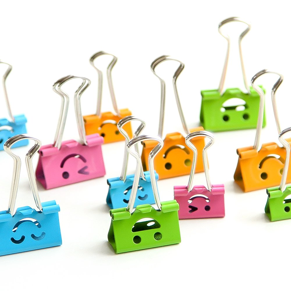 Ya Jin Cartoon Smiling Assorted Metal Binder Clips Foldback Paper Notes Clips, 19mm, Box of 40