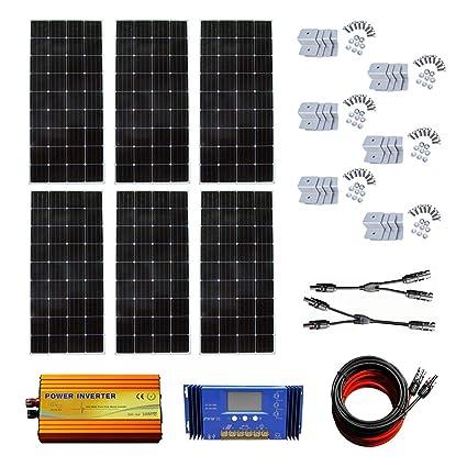 Amazon com : ECO-WORTHY 900W 24V Off Grid Solar Panel Kit:6pcs 150W