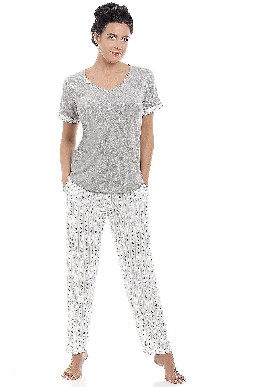 c6b37f43d89219 gut Damen Schlafanzug-Set T-Shirt & lange Hose Baumwollmischung - Grau