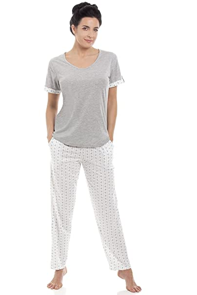 Conjunto de pijama para mujer Manga corta y pantalón largo Mezcla de algodón - Gris: Amazon.es: Ropa y accesorios