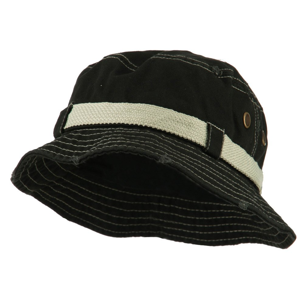 043e3f37271 E4hats Big Size Frayed Cotton Washed Bucket Hat - Black XL-2XL at Amazon  Men s Clothing store  Mens Sun Hat Xxl