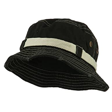 f0e252ebc19 E4hats Big Size Frayed Cotton Washed Bucket Hat - Black XL-2XL at ...