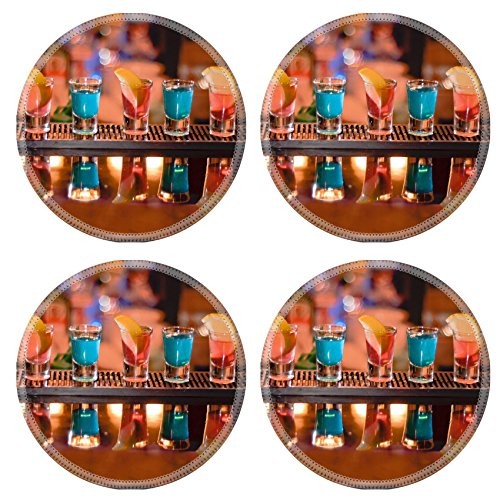 Luxlady Round Coasterss IMAGE ID 7989476 Row of shots on the bar tequila and blue curacao