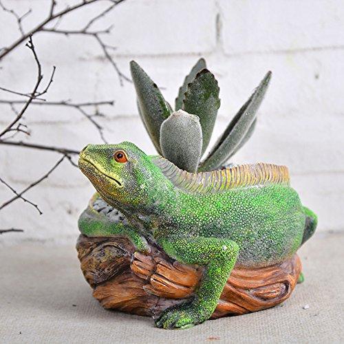 Garden pots Resin Lizard Cacti Succulent Plant Flower Planter Micro-landscape potted -