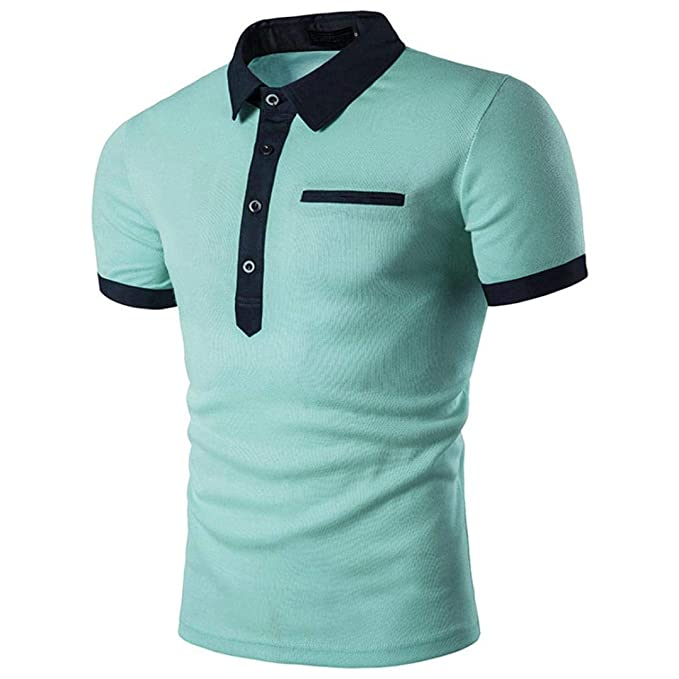 ♚Polo para Hombres Casual,Ripped Hole Short Sleeve T-Shirt Top Blusa Hombres