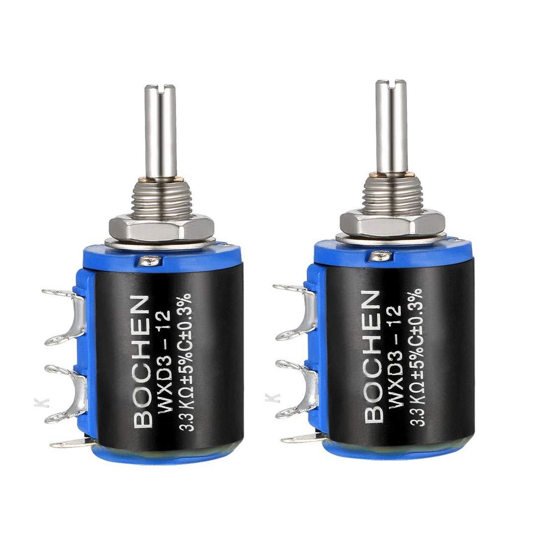 sourcing map 1K Ohm //1W Potentiometer Pots Adjustable Resistors Wire Wound Multi Turn Precision 1pcs