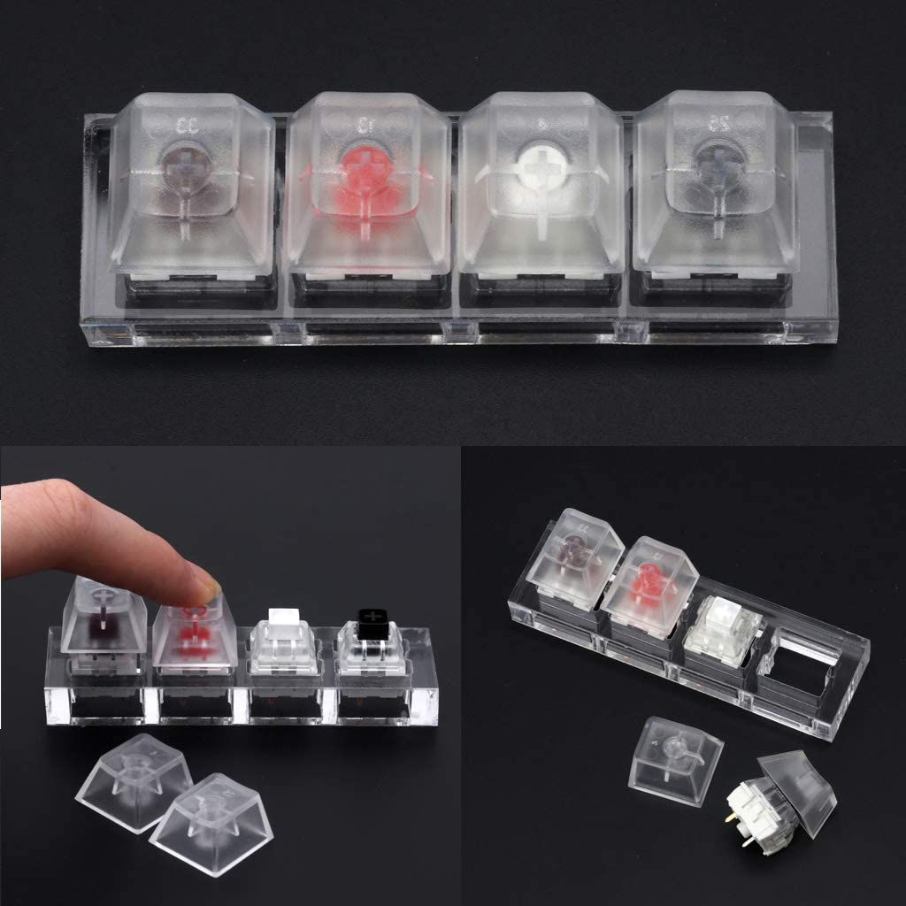 CUCUDAI Kailh Box Switch Acrylic Mechanical Keyboards Switch 4 Translucent Clear Sampler Tester Kit Toys Stress Relief Gifts