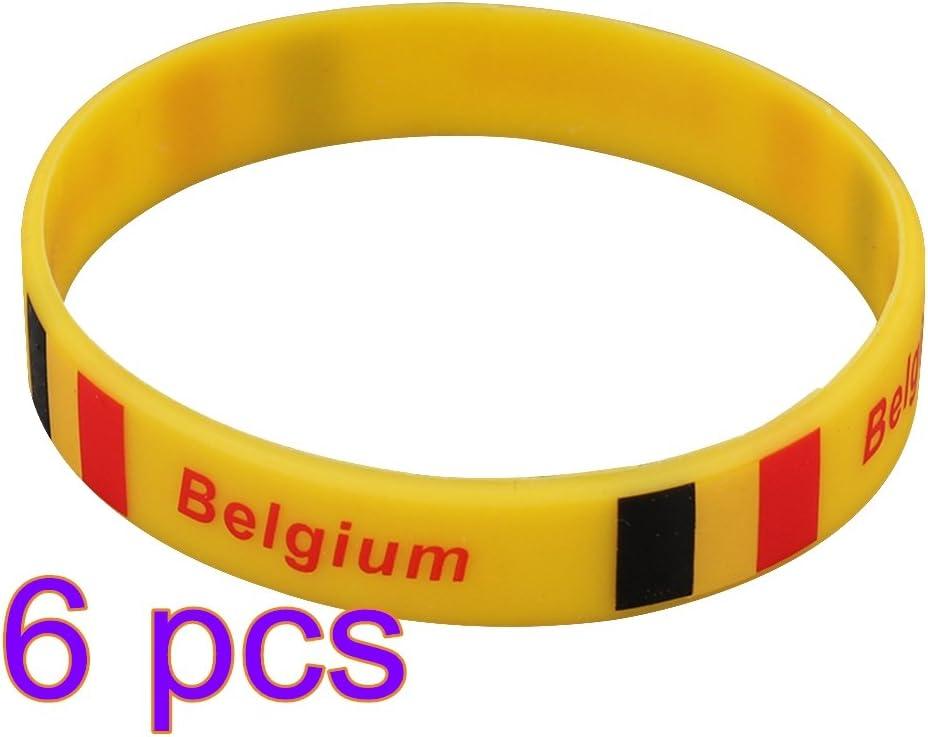 LUOEM Pulsera de 6 Piezas de Silicona World Cup Pulsera Rubber Country Olympics para 2018 World Cup Bélgica: Amazon.es: Juguetes y juegos