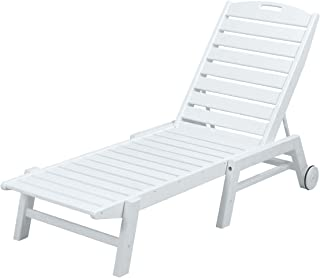 product image for POLYWOOD NAW2280WH Nautical Wheeled Chaise, Stackable, White