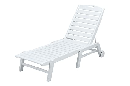 POLYWOOD NAW2280WH Nautical Wheeled Chaise, Stackable, White