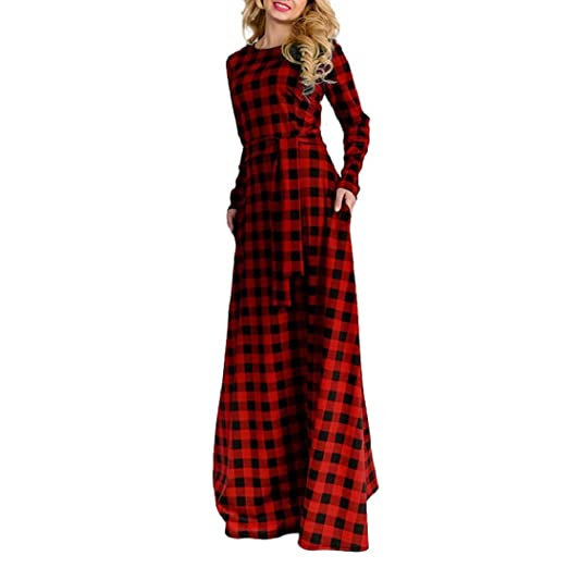 aad0857c2cb GONKOMA Women Elegant Long Sleeve Plaid Plus Size Long Maxi Dress Floor  Length Cocktail Evening Party