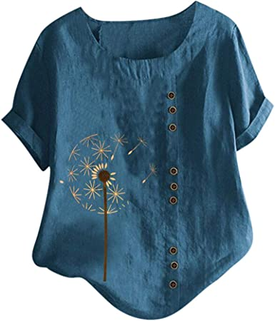 Women Ladies Holiday Casual Tunic Blouse Floral Printed Loose T-Shirt Tops Tee