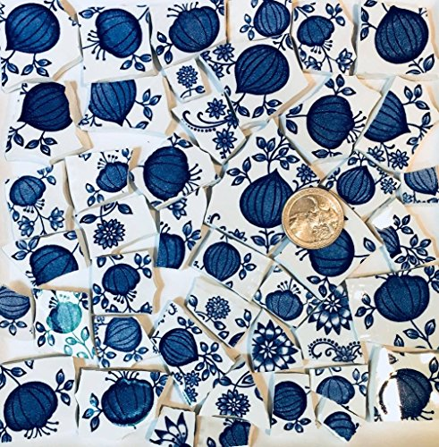 Mosaic Tile Art Supply for Mosaics & Crafts ~ Blue Heritage Enoch Wedgwood Tiles (T#525) ()