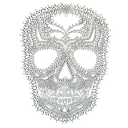 ransfer Hot Fix Motif Fashion Design Silver Skull Tattoos 1 Sheets 8.2*11.4inch ()