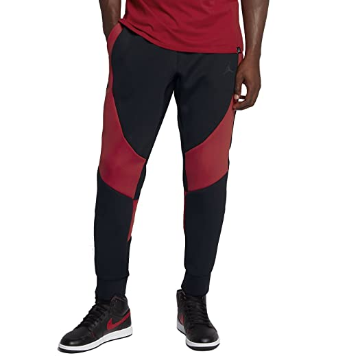 7850e0f19280 NIKE Mens Jordan Flight Tech Fleece Pants Black Gym Red 879499-013 Size  Large