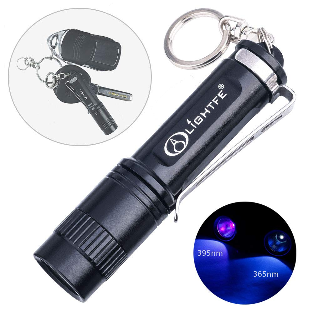 Keychain Blacklight UV Flashlight with LG UV 365nm LED Source High Power and Strong Beam for Pet Urine Detector Light, UV Glue Curing,Professional Art Repairing (UV101 365nm)