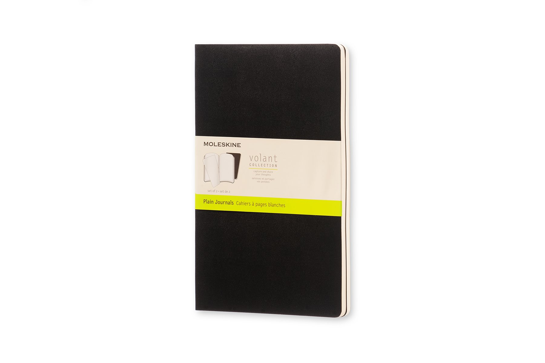 Moleskine Volant Soft Cover Journal, Black , Plain, Large x2