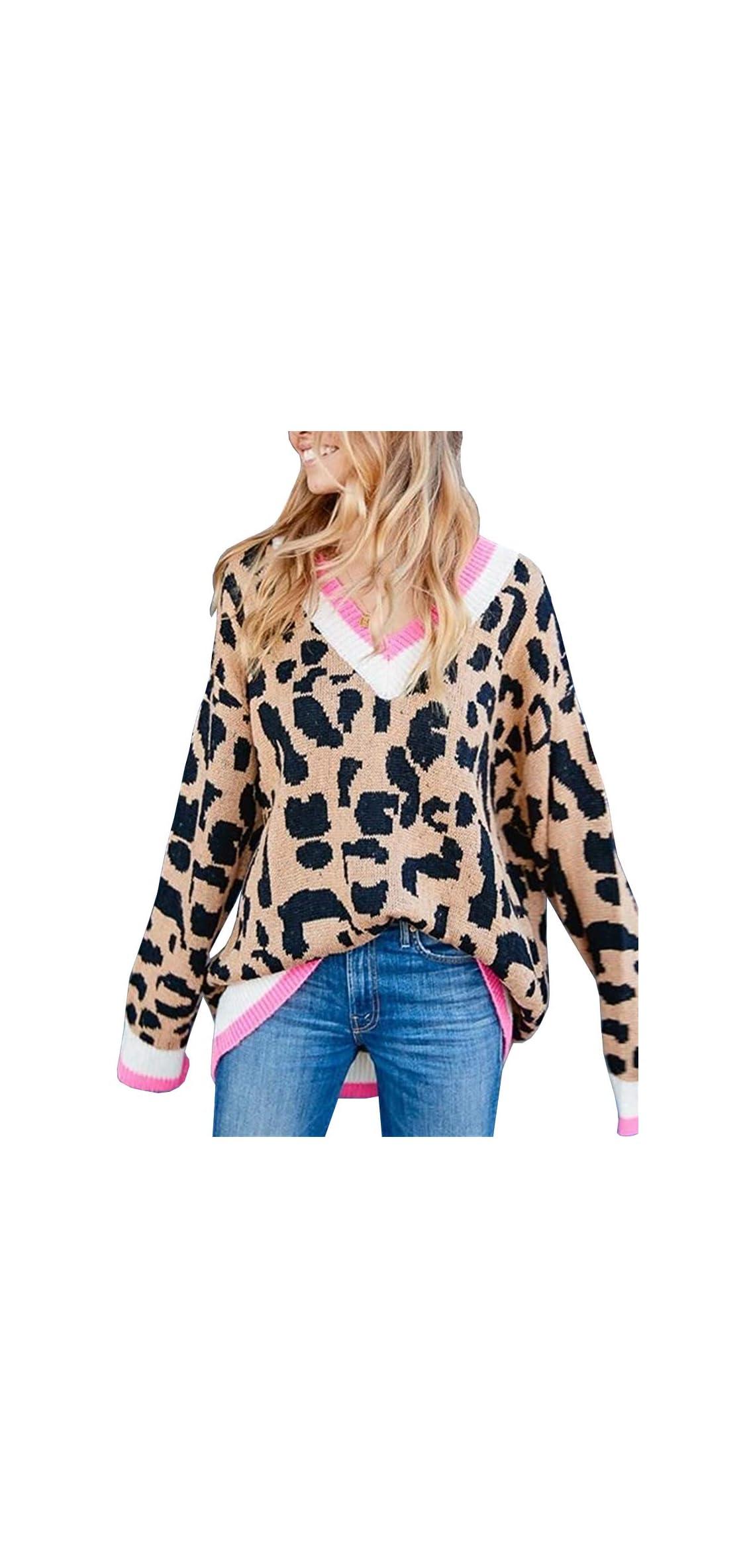 Women's Animal Leopard Pattern Long Sleeve Drop Shoulder