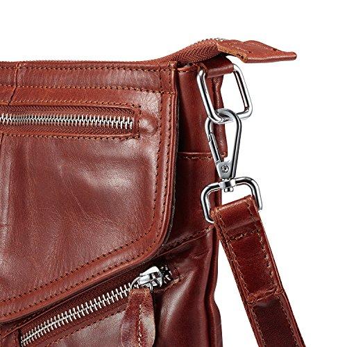 cerniera da Retro marrone di Lecxci tracolla a a con pelle piccolo borse tracolla in donna da viaggio donna Borse vintage per OaWqg8Hnn