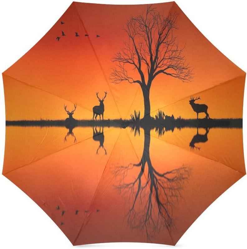 Animal Deer Sunset Compact Foldable Rainproof Windproof Travel Umbrella