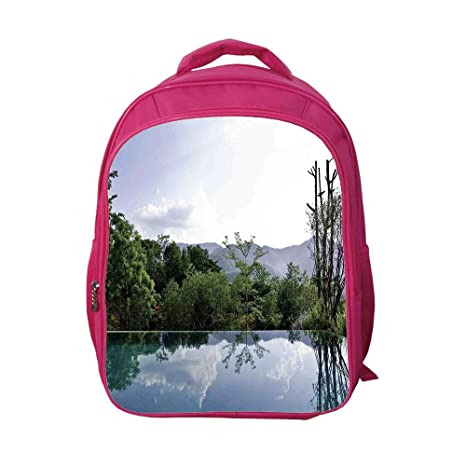 537ba255c2b7 iPrint School Bags Kid's Backpacks Strong Durability,House Decor,Cloud and  Tree Reflections on
