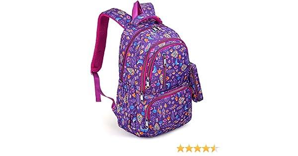 Backpack for Girls Bookbag Teen Kids Children Toddlers Back to School Waterproof Nylon Lightweight Shoulder Purse with Pen Bag Purple