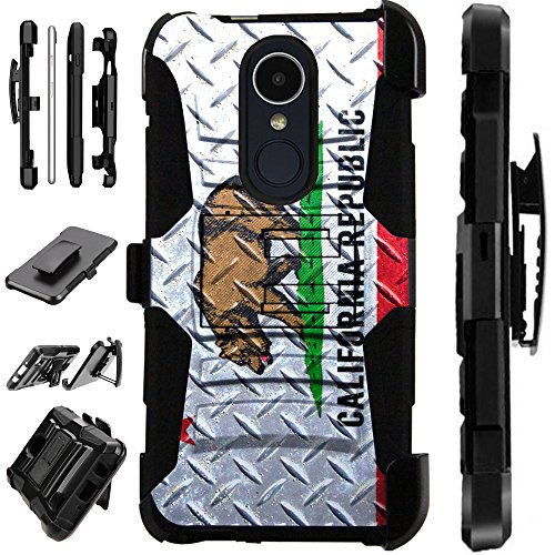 LG Q7 (2018) | LG Q7 Plus (2018) Case Armor Hybrid Silicone Cover Stand LuxGuard Holster (California Flag Crosshatch) -