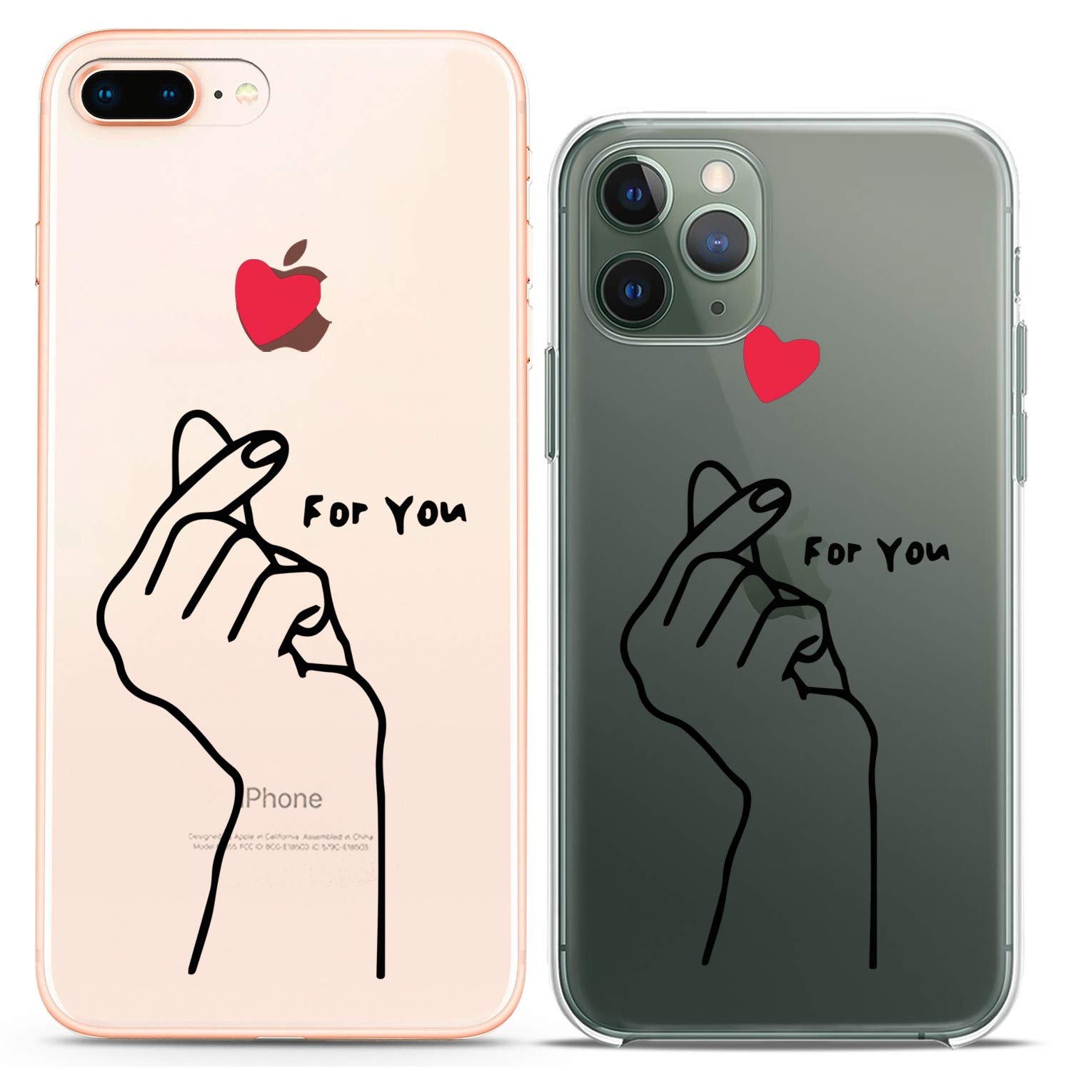 Cavka TPU Couple Cases for Apple iPhone 11 Pro Xs Max X Xr 8 Plus 7 6s SE 5s Korean Finger Clear For You Flexible Love Gift Silicone Cover Anniversary Matching Cute Print Art Mate Girlfriend Kawaii