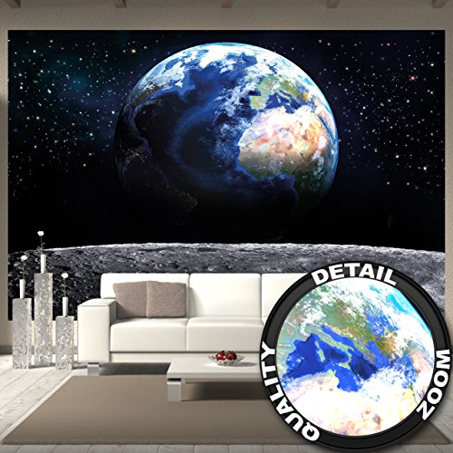 Great Art Wall Mural Planet Earth Mural Decoration World Universe Deep Space Cosmos Space Globe Stars Moon Outer Space I paperhanging Wallpaper poster wall decor by (132.3 x 93.7 Inch/336 (Outer Space Wall Mural)