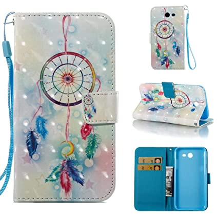 Case for Galaxy J3 2017/J3 Prime/J3 Emerge/J327,Pu-Leather 3D Printing Wallet Case [Durable] Kickstand with Card Holder & Wrist Strap Slim Case ...