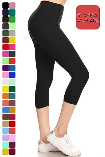 ff9d621caf Leggings Depot Women's Yoga Gym High Waist reg/Plus Solid and Printed  Workout Capri Leggings