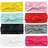 Haarband, für Babys/Kinder, mit Knoten-Schleife/Turban, niedlich, elastisch, einfarbig, 8-teiliges Set