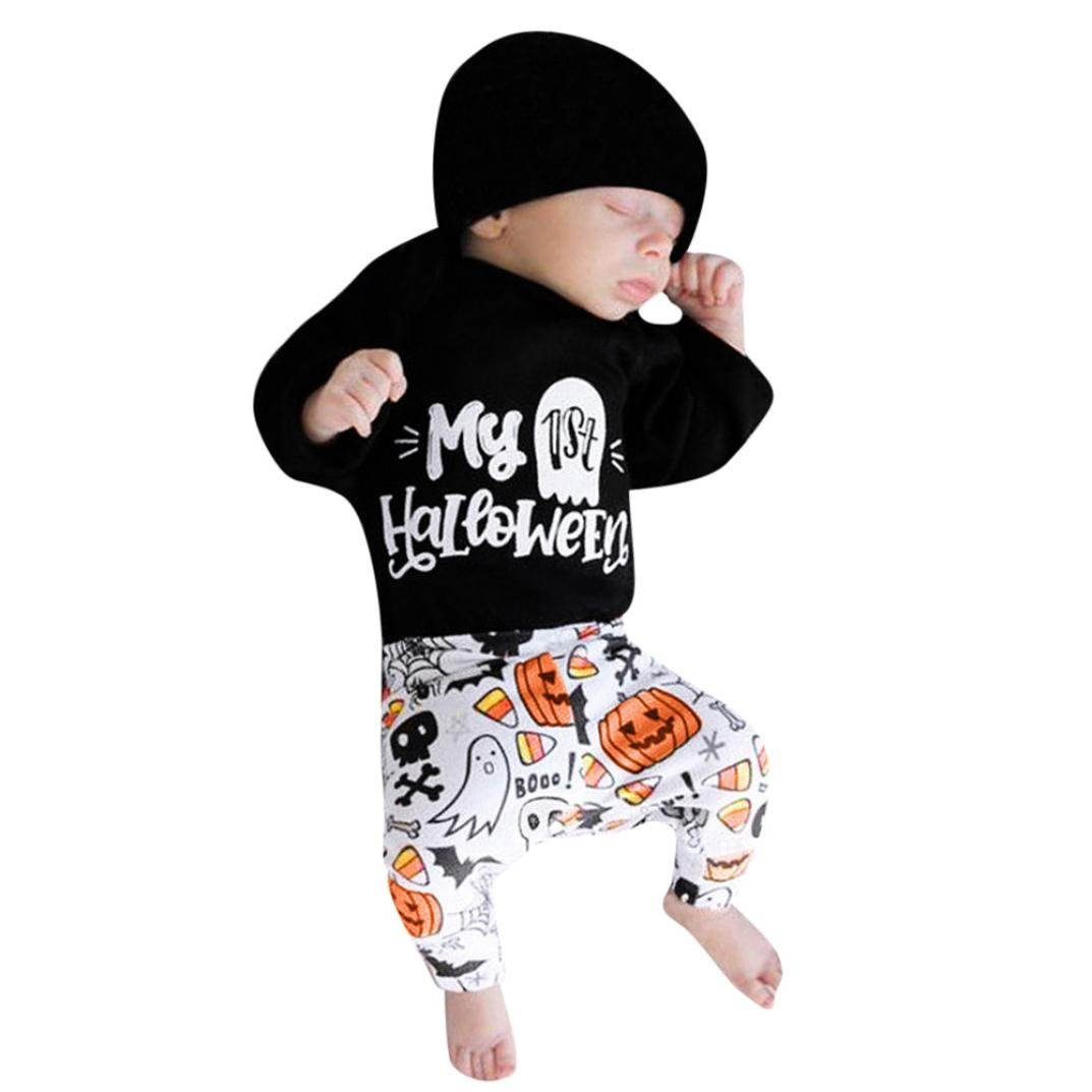 Halloween Costume Ankola Toddler Infant Baby Girls Boys Letter Print''My First Halloween''Bodysuit Romper Jumpsuit +Pant+Hat Outfits Set (12M, Black)