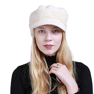 b62858259ac0 UMIPUBO Bonnets Femmes Automne-Hiver Chapeaux Mode Casquette Tricoté  Doublure Polaire Bonnet Beanie (Beige