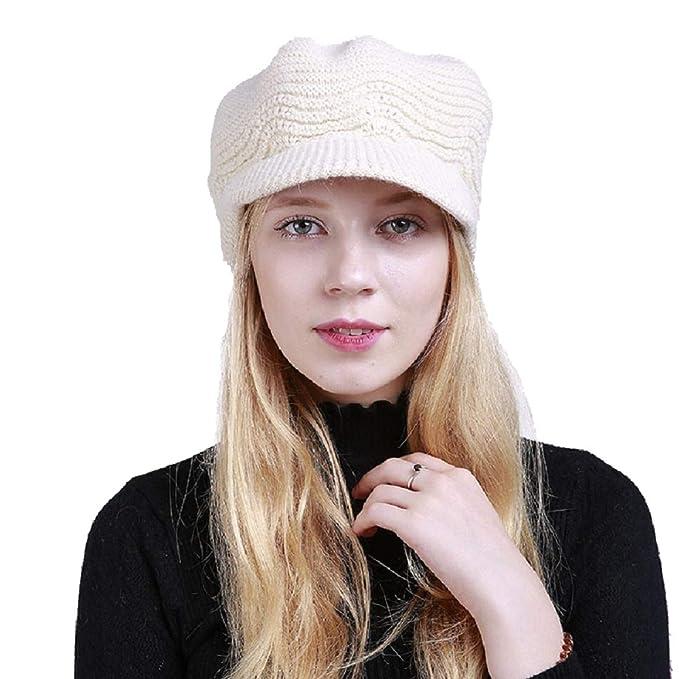 UMIPUBO Berretti Donna Autunno-Inverno Cappelli Moda Berretto a Maglia  Fodera in Pile Cappellino Beanie 11a71f2d474f