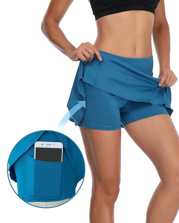 Pulchrumcs Womens Pleated Tennis Skirt Elastic Quick-Drying Skort with Side Inner Pocket Running Short