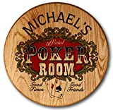 Personalized Poker Room Barrel Head Sign