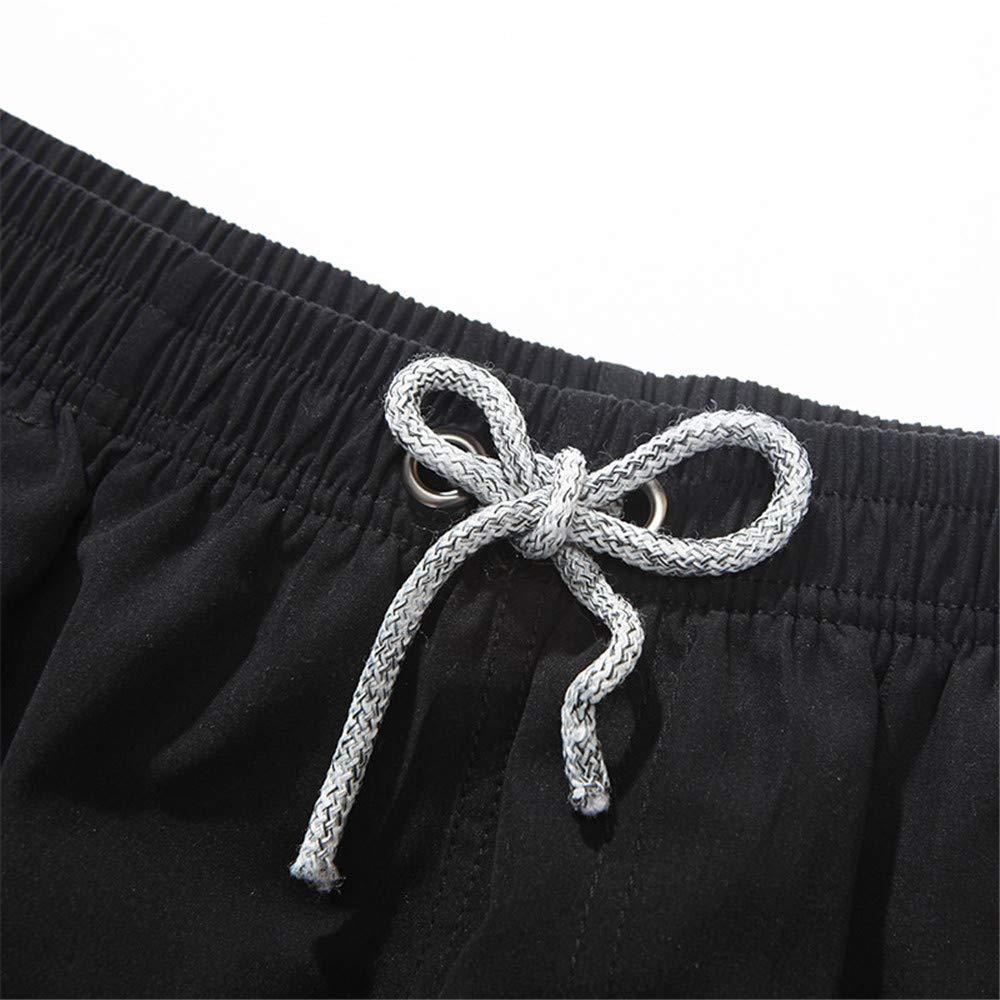HHM Mens Swimming Trunks Quick Dry Board Shorts Print Swim Shorts,Black,L
