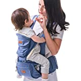 SUNVENO Baby Hipseat Ergonomic Baby Carrier Soft Cotton 3in1 Safety Infant Newborn Hip Seat for Outdoor Travel 0-36 Months (Blue)