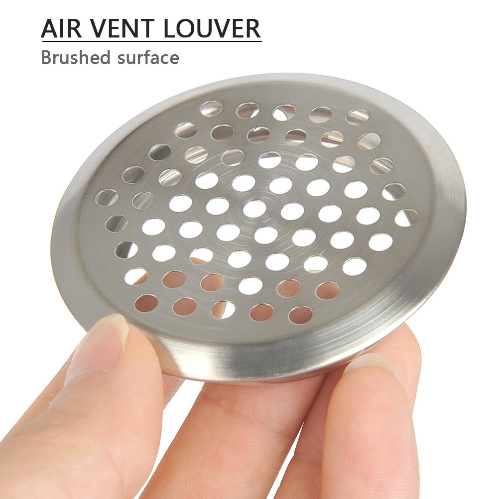 Bathroom FOCCTS 20Pcs Air Vents 2 Inch Circular Soffit Vent Stainless Steel Round Vent Mesh Hole Louver for Kitchen Cabinet 53mm Wardrobe and Shoe Cabinet