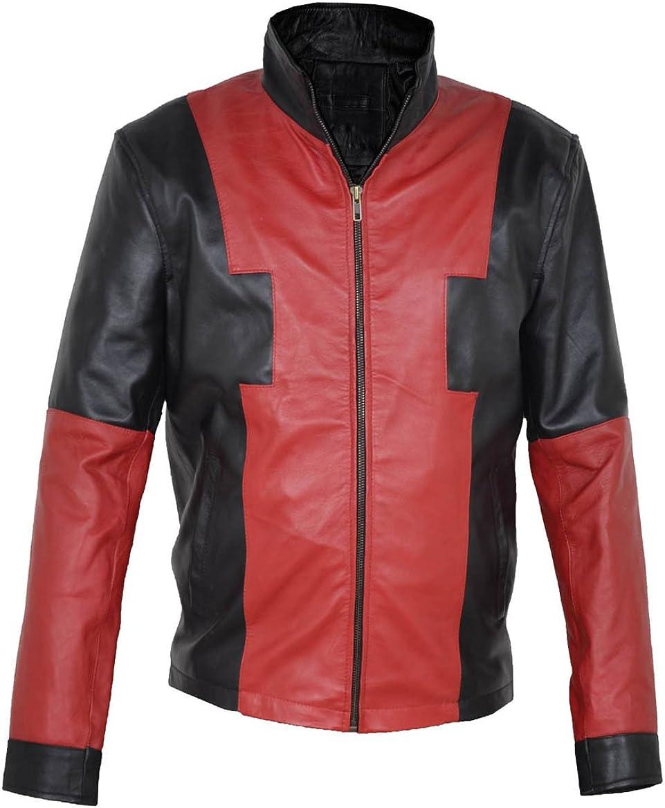 MSHC Mens Deadpool V1 Black /& Red Faux Leather Jacket XL Black /& Red